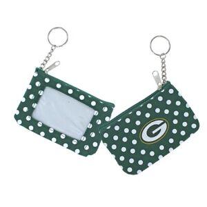 Green Bay Packers Football Logo NFL Nylon Polka Dot Zippered Coin Purse Key Ring