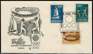 Argentina 1964 Olympic Games FDC Tokyo, Japan - Mint - Unaddressed