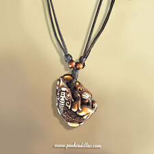 Adjustable Length Mens Lucky Qilin Charm Totem Biker Pendant Fish Wood Necklace