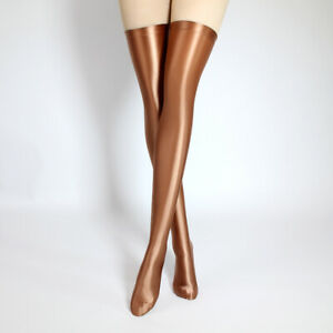 2021 Sexy Women's Glossy Stocking Spandex Stretch Shiny Opaque Thigh High Sock