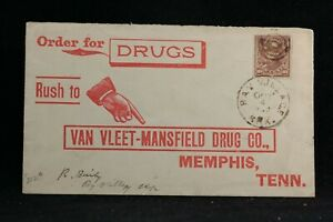 Arkansas: Bay Village 1899 Registered Van Vleet Drug Envelope, DPO Cross Co