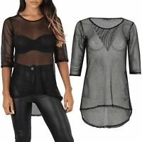 Womens Ladies Fish Net High Low 3/4 Sleeve See Through Curved Hem Round Neck Top