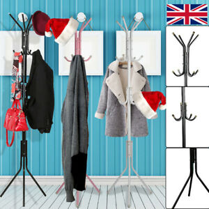 Coat Stand Coat/Hat/Jacket/Umbrella Floor Standing Rack Clothes Hanger Hooks UK