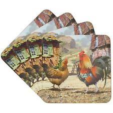 Set of 4 Cockerel and Hen Cork Backed Coasters