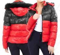 Womens Puffer Coat Faux Fur Hooded Parka Jacket Red Size 8 10 12 14 16