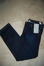 NWT Dark Blue Denim BANANA REPUBLIC Stretch Low Rise Straight Leg Jeans 33 Long