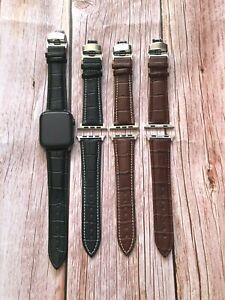Genuine Leather Alligator Apple Watch Strap Band Deployment Clasp 20 22 24mm UK