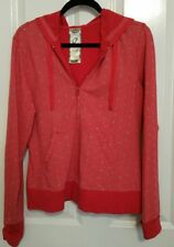 Women's Ladies Juniors Hood Jacket Cotton Spandex Red with Gray Hearts XL