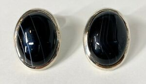 Vintage 42G Sterling Silver Natural Onyx Agate Cabochon Fixed Back Cufflinks