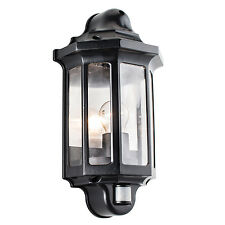 Endon Traditional PIR half lantern outdoor porch wall light IP44 60W black & pc