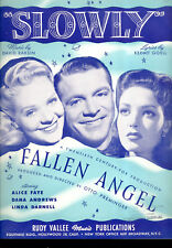 "FALLEN ANGEL Sheet Music ""Slowly"" Alice Faye Linda Darnell David Raksin"