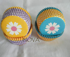 100 white daisy yellow blue Cupcake liners baking paper cup muffin case 50x33mm