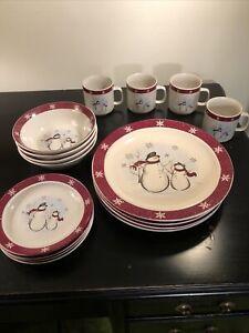 Royal Seasons Stoneware Snowman 16-Piece Dinnerware Set  ~ 4 Place Settings #2