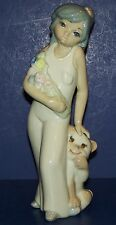 """BEAUTIFUL CASADES MADE IN SPAIN GIRL WITH CAT & FLOWERS 8 1/4"""" FIGURINE"""