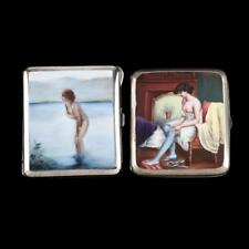 Two Antique Enameled Silver Clad Cigarette Cases.
