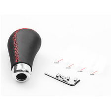 Black Leather Red Stitched Car Gear Shift Knob Shifter Lever Universal Manual