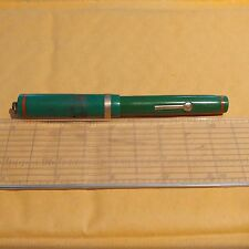 Diamond Point E-Z Fill Vintage Calligraphy Fountain Pen Green Red Band Gold Band
