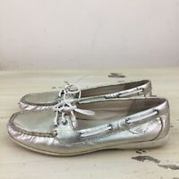 SPERRY TOP SIDER - Womens Metallic Gold Leather Boat Shoes, Sz 8.5 M - MUST SEE!