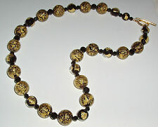 Black and Gold Ca' D'Oro and Tosca Murano Glass Necklace