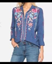 NWT $220 JOHNNY WAS AMAL HANDKERCHIEF BUTTON DOWN EMBROIDERED SHIRT TOP XL