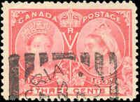 1897 Used Canada 3c F+ Scott #53 Diamond Jubilee Stamp