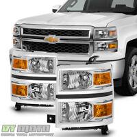 2014-2015 Chevy Silverado 1500 Headlights Headlamps Left+Right 14-15 Lights
