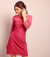 New Look Bright Pink Lace Mesh Panel 3/4 Sleeve Dress UK 10 LF085 AA 21