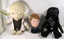 """3 Star Wars Toys YODA, DARTH VADER, """"rare"""" ANAKIN SKYWALKER Stuffed Plush Dolls"""