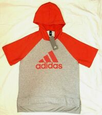 NWT Adidas Womens Large Coral/Gray Short Sleeve Pullover Fitness Workout Hoodie