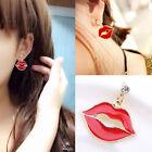 Fashion Womens Lipstick Red Lips Dangle Earrings Piercing Ear Stud