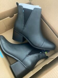 TOMS Esme Black Leather Boots Size 10