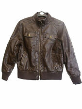 H&M GIRLS BROWN FAUX LEATHER JACKET SIZE 11-12Y  (K-3)