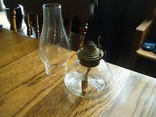 Beautiful Antique Glass Kerosene Oil Lamp Complete Etched Squatty Vanity Dresser