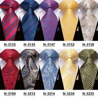 USA Red Burgundy Blue Green YellowPaisley Striped Mens Silk Tie Necktie Set