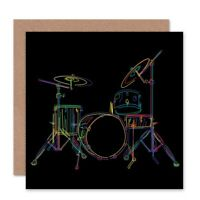 Drum Set Music Colourful Illustration Black Blank Greeting Card With Envelope