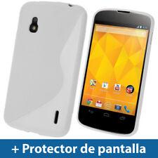 Blanco Funda TPU Gel para LG Google Nexus 4 E960 Smartphone Case Carcasa