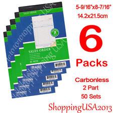6 X Sales Order Book Receipt Invoice Form 50 Set 2 Parts Duplicate Carbonless