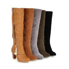 Womens Faux Suede Shoes Knee High Boots Block Mid Heels Side Zipper Ladies Boots