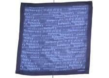 Burberry Designer Pocket Square Handkerchief Mini Scarf Neckerchief Blue VGC