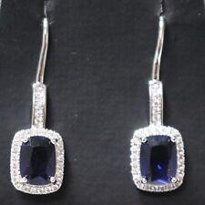 Vintage Blue Sapphire AAA CZ Halo Drop Earrings 925 Silver Women Wedding Gift