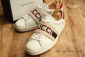 Men's Gucci Ace White Leather Sneaker Elastic Web UK 8.5 US 9.5 EU 42.5