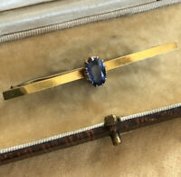 Antique Vintage 9ct Gold Sapphire Pin Bar Brooch