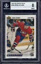 JOHN LeCLAIR Graded BGS 8 RC Rookie Card 1991-92 Upper Deck #345 Canadiens