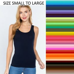 Womens Tank Top Scoop Neck Solid T Stretch Shirt Basic Sleeveless Size S-M-L