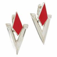 """Avante' Clip On Earrings Silver Tone Retro Geometric Doorknocker USA Red 2"""""""