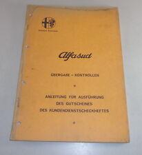 Werkstatthandbuch Alfa Romeo Alfasud - Inspektion - Stand 11/1972