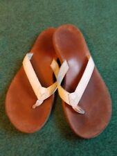 AEROPOSTALE Leather FLIP FLOPS Sandals Thongs White Size 9