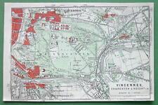 """1913 MAP ORIGINAL Baedeker 4"""" x 6"""" - FRANCE Vincennes Charenton Nogent"""
