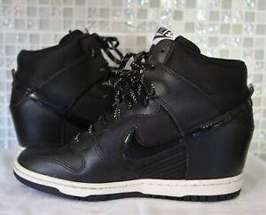 Nike Women's Size 6.5 Dunk Sky Hi Black White Hidden Wedge Sneakers 644877-001