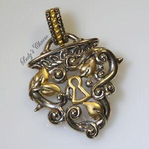 HE Barbara Bixby Vine Leaf Heart Lock Enhancer Sterling Silver 18K Gold Pendant